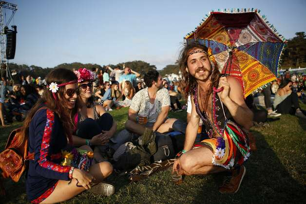 From left: Emily Tenney, 30, Julia Hosack, 30, Wes Erast, 28, and Alvaro Ramirez, 25, gather at Outsidelands in San Francisco, California, on Saturday, May 30, 2015. Photo: Brandon Chew, The Chronicle