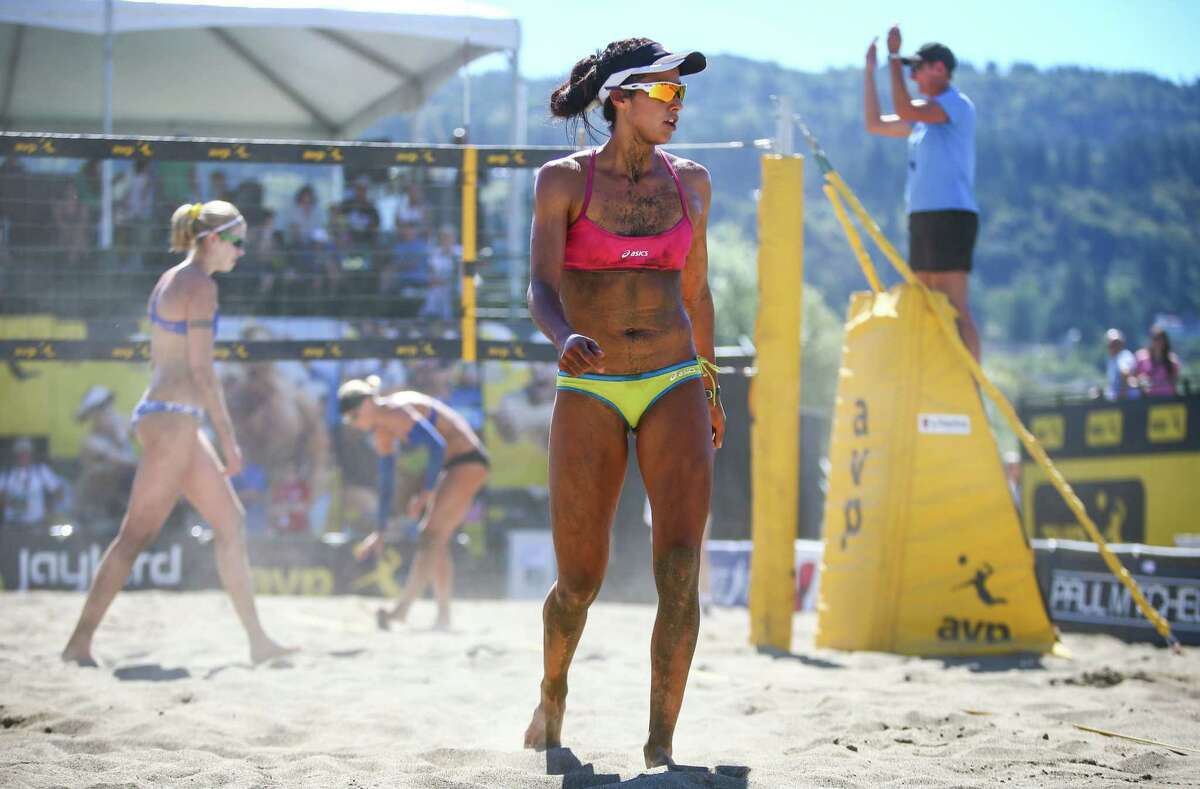 Lane Carico reacts to a call during the first day of the AVP Kingston Seattle Open, a pro beach volleyball competition that has drawn some of the best beach volleyball players in the sport. Olympic medal winners are included in the roster of top beach volleyball names competing over the weekend. The competition is being held at Lake Sammamish State Park. Photographed on Friday, August 7, 2015.