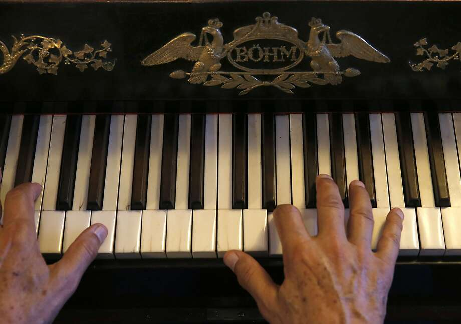 Keyboard performer John Khouri plays on an 1828 Viennese piano by Joseph Bohm in his basement in Vallejo, Calif., on Wednesday, August 5, 2015. Photo: Liz Hafalia, The Chronicle