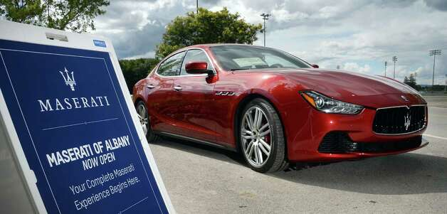 A new Maserati from Maserati of Albany on display outside Saratoga Gaming and Raceway Wednesday August 5, 2015 in Saratoga Springs, NY.  (John Carl D'Annibale / Times Union) Photo: John Carl D'Annibale / 10032918A