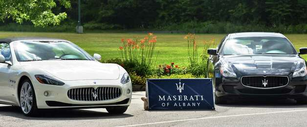 New Maseratis from Maserati of Albany on display outside Saratoga Gaming and Raceway Wednesday August 5, 2015 in Saratoga Springs, NY.  (John Carl D'Annibale / Times Union) Photo: John Carl D'Annibale / 10032918A