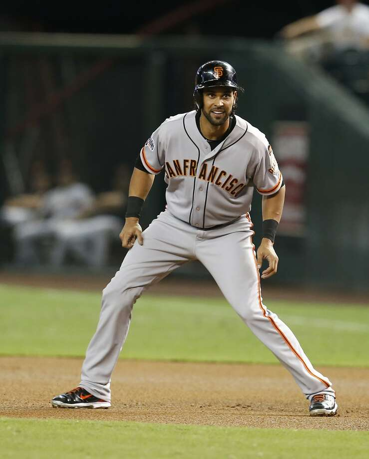 San Francisco Giants center fielder Angel Pagan (16) in the first inning during  a baseball game against the Arizona Diamondbacks, Saturday, July 18, 2015, in Phoenix. (AP Photo/Rick Scuteri) Photo: Rick Scuteri, Associated Press