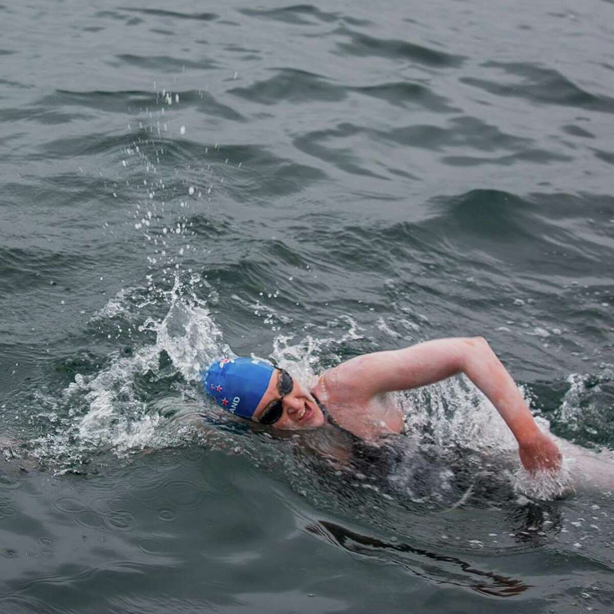 Kim Chambers swimming from the Farallon Islands to San Francisco on August 8, 2015. (Kate Webber)