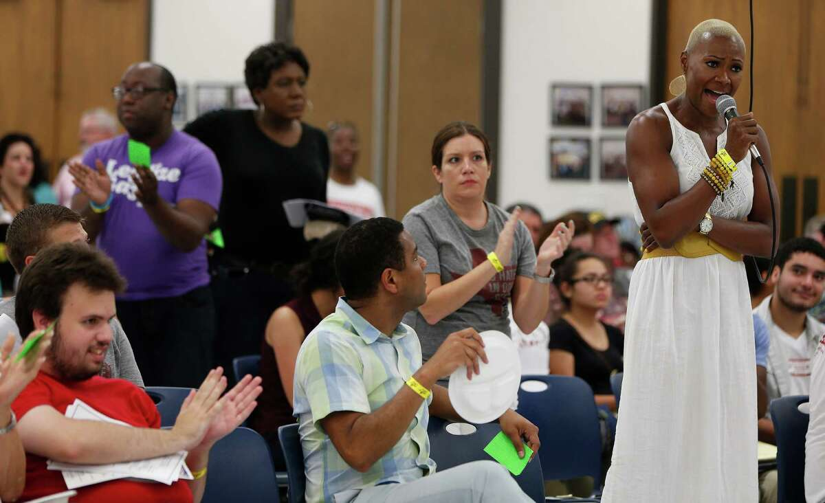 Jolanda Jones speaks passionately during the Houston GLBT Political Caucus at the IBEW Hall, where they picked their slate of mayoral, controller and city council candidates on Saturday, Aug. 8, 2015, in Houston. A large crowd of nearly 300 members, was a traditional caucus-style event, with all of the progressive mayoral candidates present.