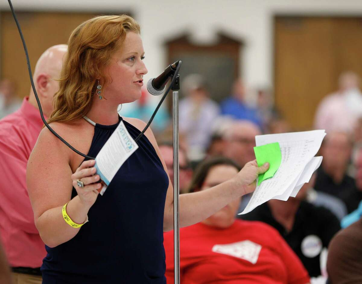 Nikki Araguz Loyd speaks during the Houston GLBT Political Caucus at the IBEW Hall, where they picked their slate of mayoral, controller and city council candidates on Saturday, Aug. 8, 2015, in Houston.