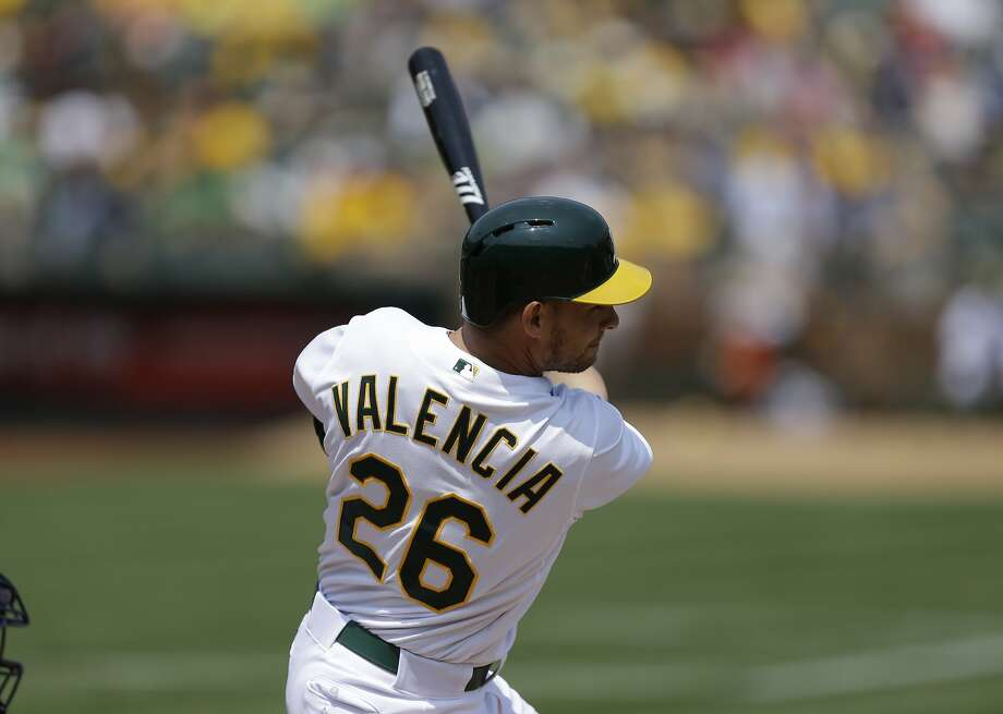 Oakland Athletics' Danny Valencia swings for a two run double against the Houston Astros in the first inning of a baseball game Saturday, Aug. 8, 2015, in Oakland, Calif. (AP Photo/Ben Margot) Photo: Ben Margot, Associated Press