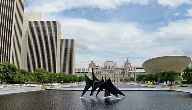 The Empire State Plaza looking north toward the State Capitol Tuesday July 14, 2015 in Albany, NY.  (John Carl D'Annibale / Times Union) Photo: John Carl D'Annibale / 00032594A