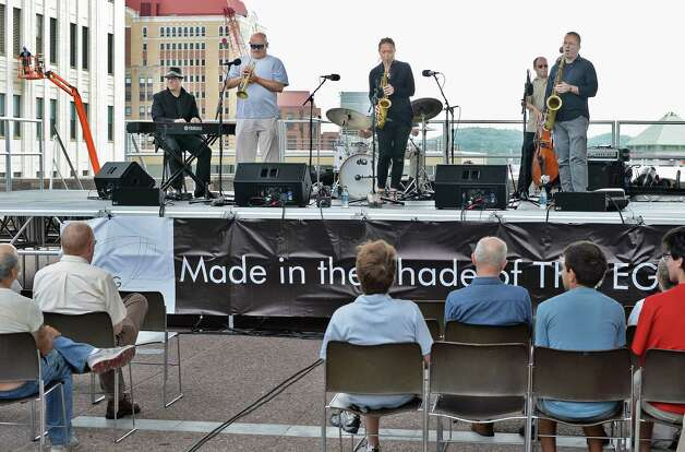 The band Boptitude performs during a Made in the Shade of the Egg music series on the Empire State Plaza Wednesday July 15, 2015 in Albany, NY.  (John Carl D'Annibale / Times Union) Photo: John Carl D'Annibale / 00032594A