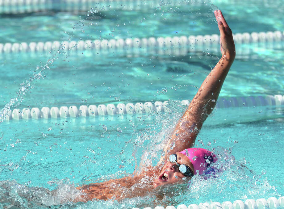 William Montesi of the the Roxbury Club competes in the backstroke event during the 67th annual Fairfield County Swimming League Championship Finals at the Roxbury Swim & Tennis Club, Stamford, Conn., Saturday, Aug. 8, 2015. Photo: Bob Luckey Jr. / Hearst Connecticut Media / Greenwich Time