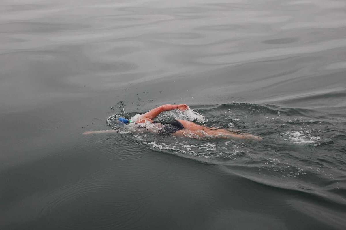 Kim Chambers swam across the North Channel in Ireland, on Sept. 2, 2014. It took her 13 hours and 6 mins in 14 degree Celsius water.