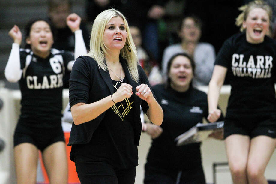 Clark volleyball coach Kristen Daniell reacts to a call during their Class 6A regional quarterfinals match with New Braunfels Canyon at Alamo Convocation Center on Tuesday, Nov. 11, 2014. Clark beat Canyon in four sets: 25-18, 20-25, 26-24 and 25-13. Photo: Marvin Pfeiffer /San Antonio Express-News / Express-News 2014