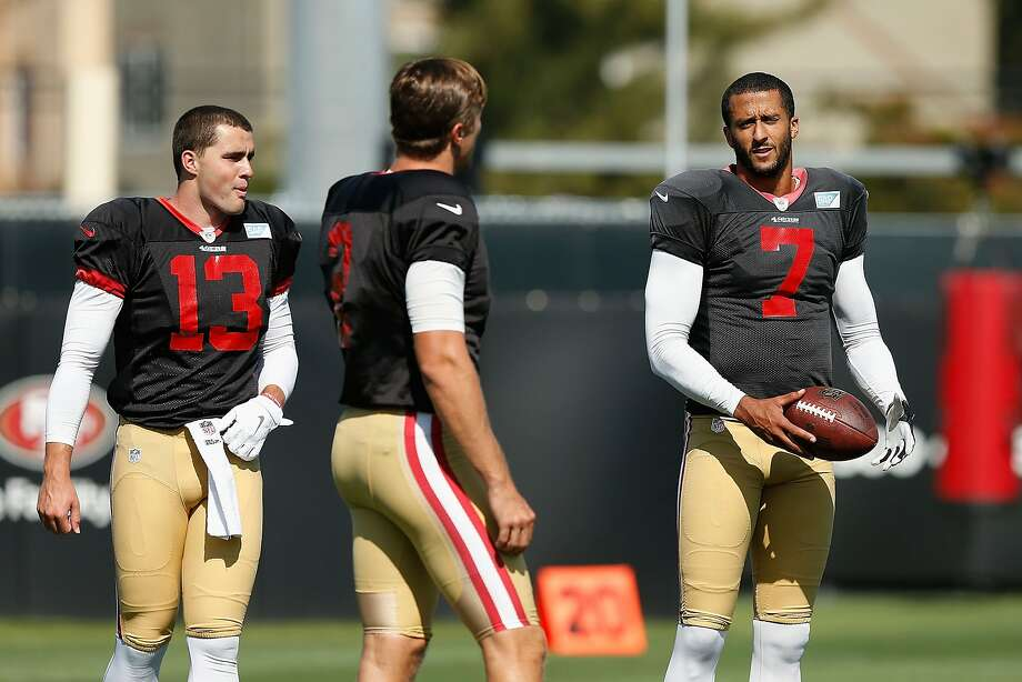 SANTA CLARA, CA - AUGUST 7: Quarterbacks Dylan Thompson #13, Blaine Gabbert #2 and Colin Kaepernick #7 of the San Francisco 49ers talk between drills during a practice session at Levi's Stadium on August 7, 2015 in Santa Clara, California. (Photo by Lachlan Cunningham/Getty Images) Photo: Lachlan Cunningham, Getty Images