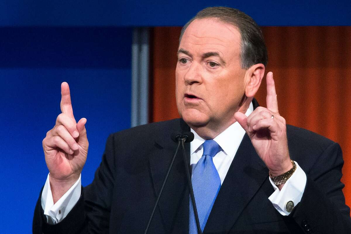 Republican presidential candidate and former Arkansas Gov. Mike Huckabee speaks during the first Republican presidential debate at the Quicken Loans Arena Thursday, Aug. 6, 2015, in Cleveland. (AP Photo/John Minchillo)