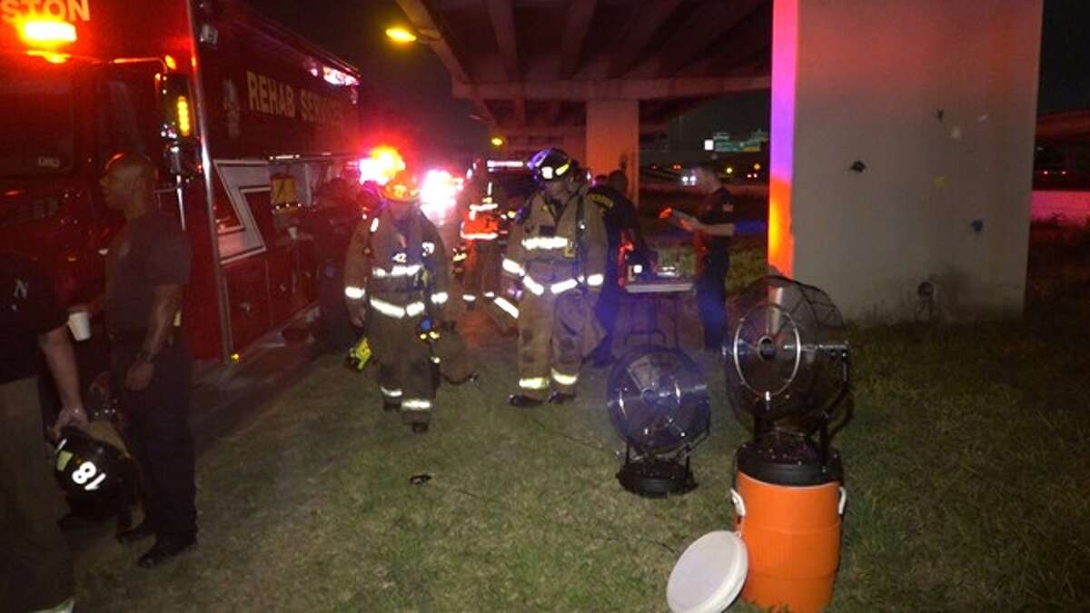Houston firefighters battled a two-alarm fire at Furniture Bank on the Gulf Freeway in southeast Houston early Sunday, Aug. 9, 2015, according to the Montgomery County Police Reporter.