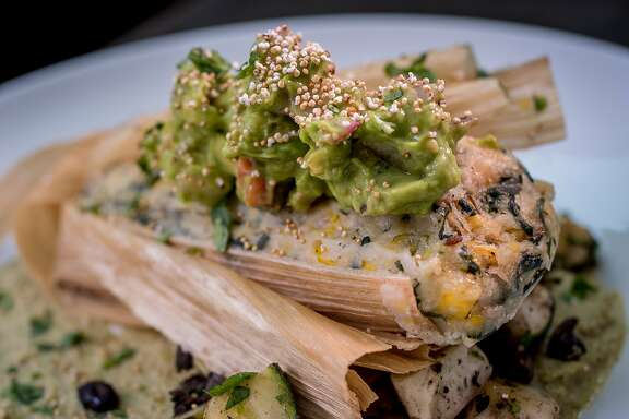 The fresh Corn Tamale at Millennium in Oakland, Calif., is seen on August 8th, 2015.