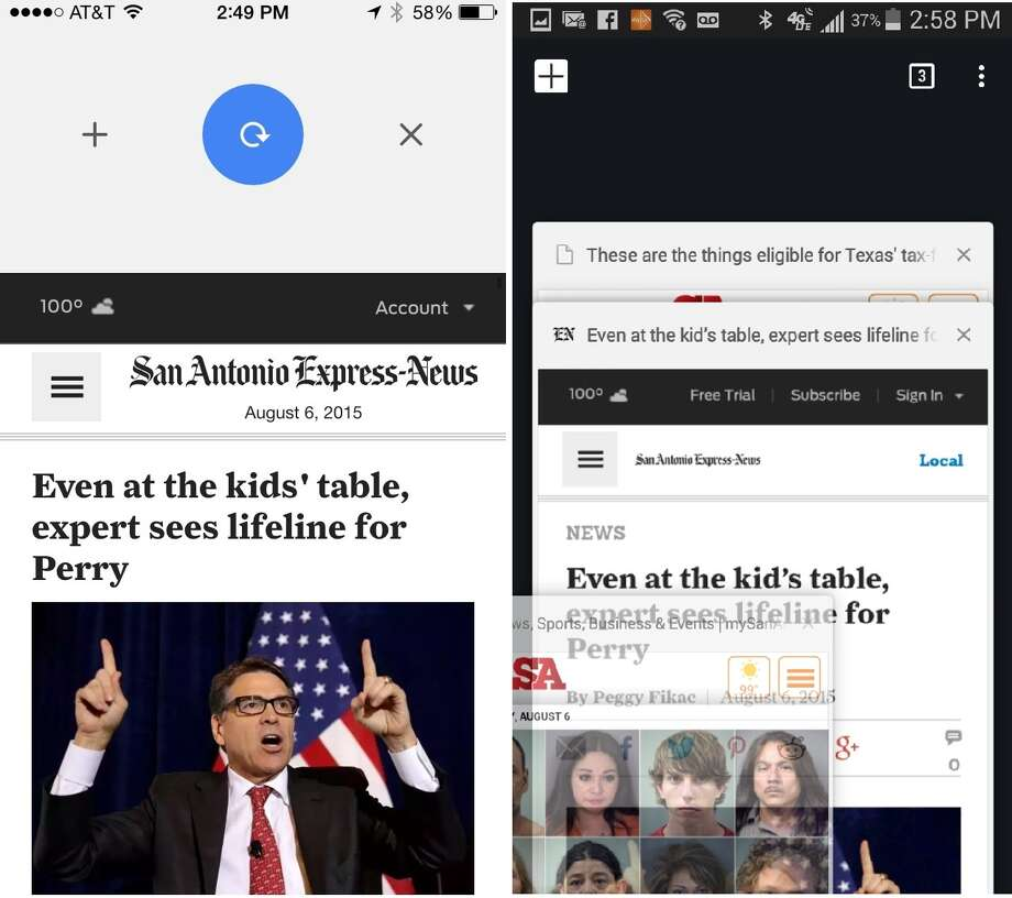 Google's Chrome browser for mobile devices lets users make commands with simple gestures, from refreshing a Web page (left) to closing a tab (right). Photo: Screenshot / Screenshot