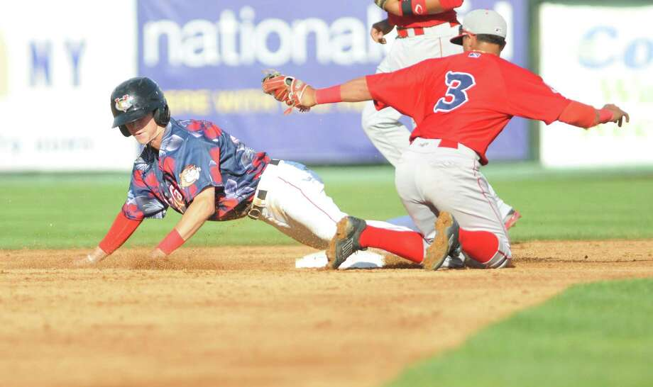 ValleyCat's Johnny Sewald steals second base during the Tri-City Valley Cats game against the Lowell Spinners on Sunday, Aug 9, 2015, at Joe Bruno Stadium in Troy, N.Y. (Phoebe Sheehan/Special to The Times Union) Photo: PS / 10032899A
