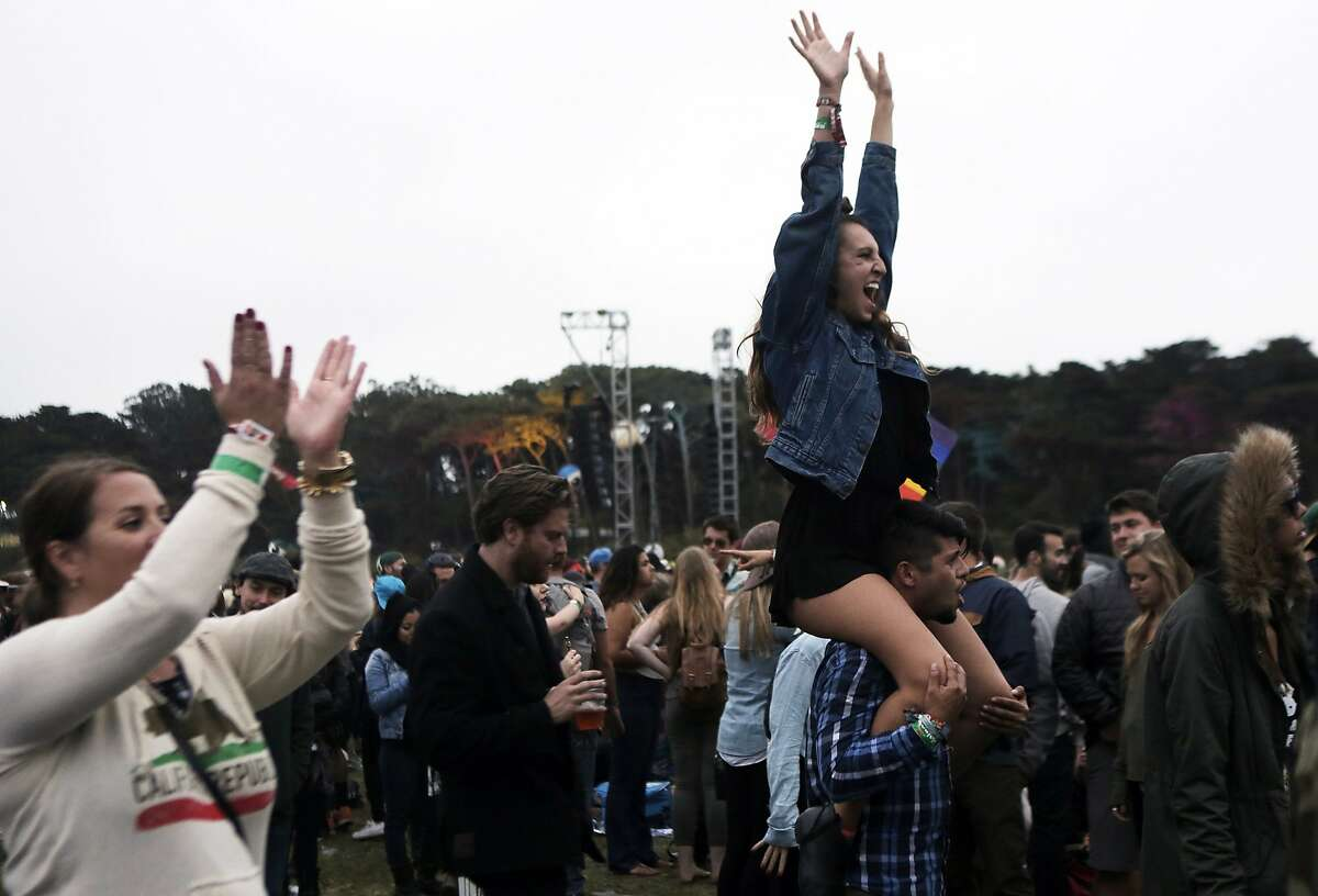 Fans cheer for Elton John during Outside Lands in San Francisco, Ca. on Aug. 9, 2015.
