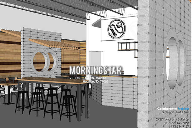 Architectural rendering of the Morningstar coffee shop interior by Jim Herd of Collaborative Projects in collaboration with John Zemanek.