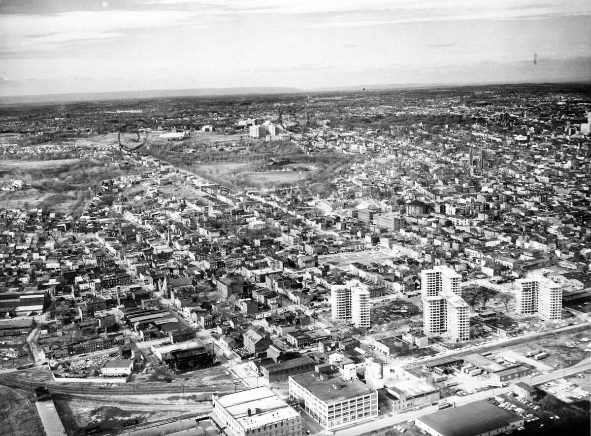 Albany South End Housing aerial view. Taken December 23, 1959. (Times Union Archive)