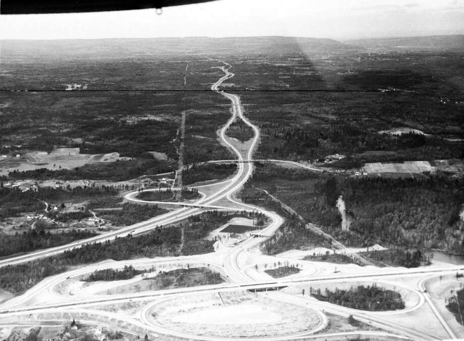 Exit 24 of the Thruway aerial view. Red line represents city line. Taken December 23, 1959, Albany, N.Y. (Times Union Archive)
