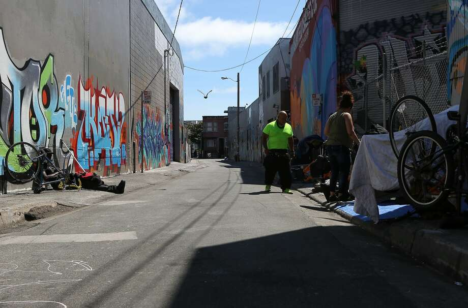 The homeless are a common sight on South Van Ness Avenue. Photo: Amy Osborne, Special To Chronicle