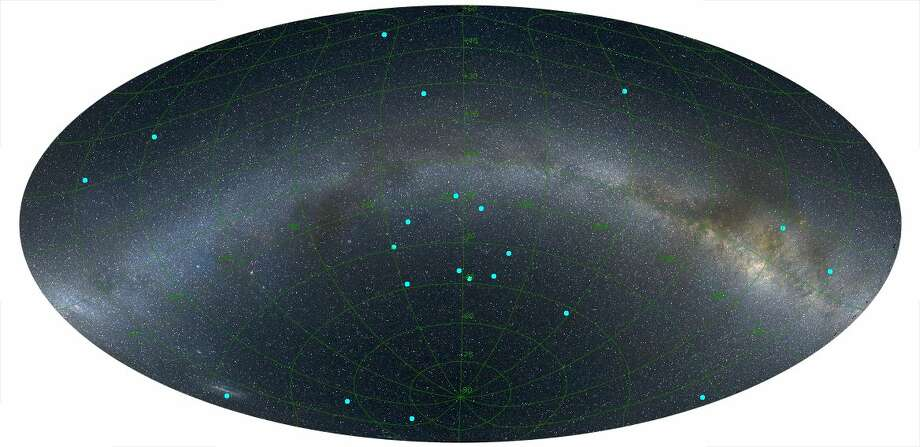 An image of the distribution of gamma-ray bursts on the sky at a distance of 7 billion light years. The bursts are marked by blue dots and the Milky Way is shown for reference, running from left to right across the image. (Credit: L. Balazs)Click through these photos to see some images from NASA's Voyager 1, which has left our solar system.
