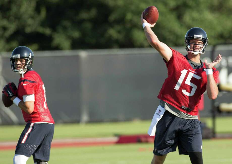 Ryan Mallett (15) is battling Brian Hoyer for the Texans' starting quarterback job. Photo: Brett Coomer, Staff / © 2015 Houston Chronicle