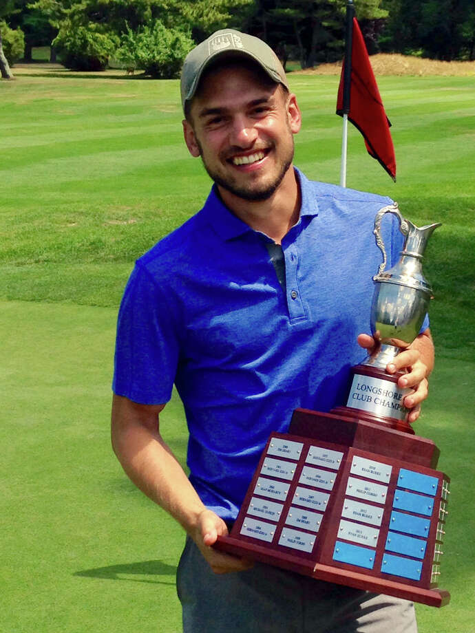Westport's Cody Schwarz holds the Longshore Men's Golf Association's Club Championship trophy after winning the event on Sunday at Longshore. Schwarz won a 36-hole match for the title. Photo: Contributed Photo / Westport News Contributed