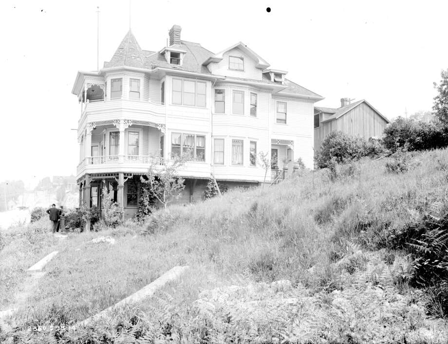 The Albin house on Seattle's Queen Anne Hill, pictured May 18, 1914, is a good example of the ornate and complex styles that sprung up on the hill thanks to all the new money flowing in. Photo: City Of Seattle Municipal Archive