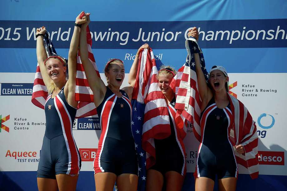 U.S. rowers  Kaitlyn Kynast (from left), Dana Moffat, Marlee Blue and Katy Gillingham celebrate their Junior Women's Four victory Saturday in Rio. Photo: Alexandre Loureiro /Inovafoto /Associated Press / Inovafoto
