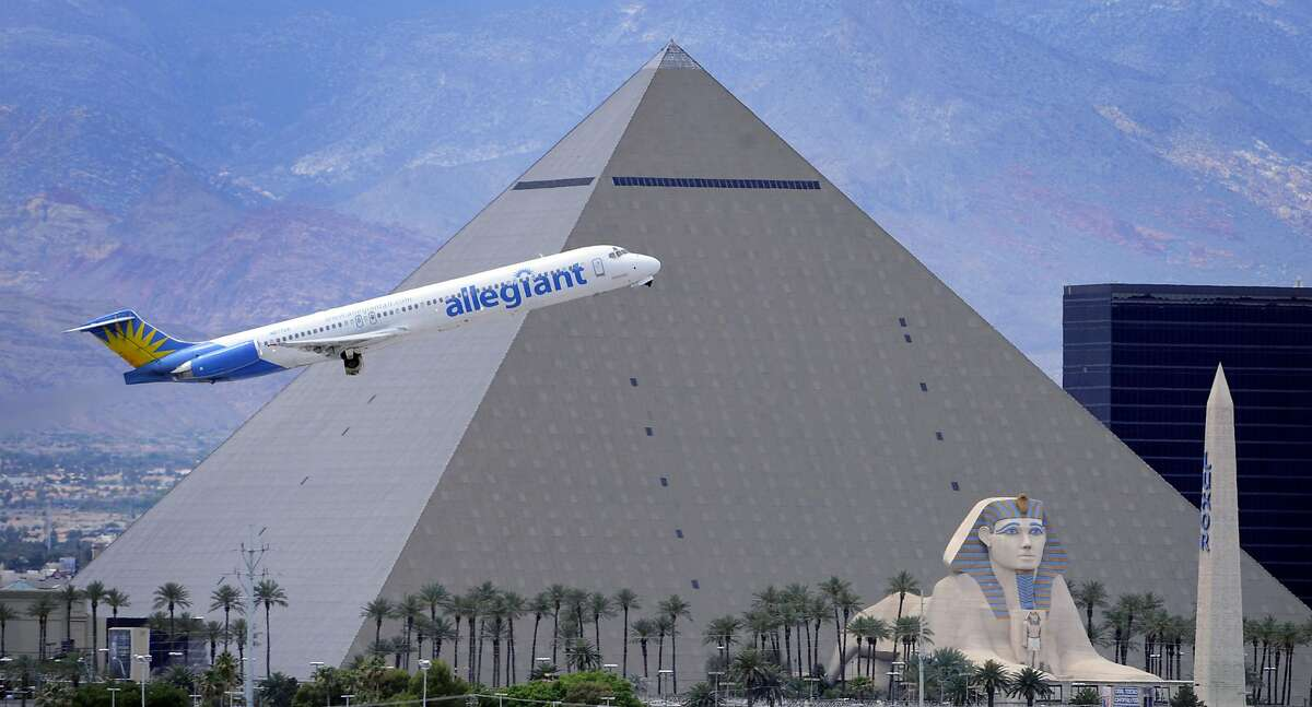 Allegiant Air, which services Stockton Metropolitan Airport, offers non-stop flights to Las Vegas (Luxor Resort & Casino shown) and Phoenix.