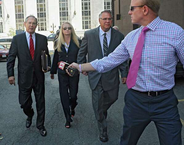 Former Halfmoon Supervisor Melinda Wormuth declined to comment as she left the federal courthouse after pleading guilty to federal corruption charges. (Lori Van Buren / Times Union) Photo: Lori Van Buren / 00032952A