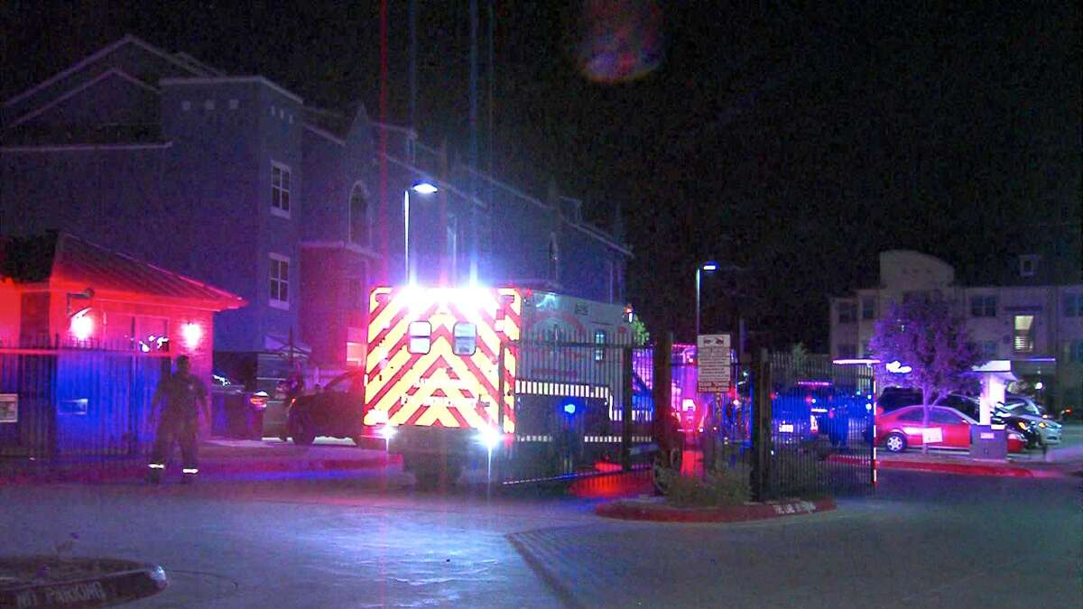 A woman was injured Monday after a gunman opened fire at an apartment complex on the East Side.