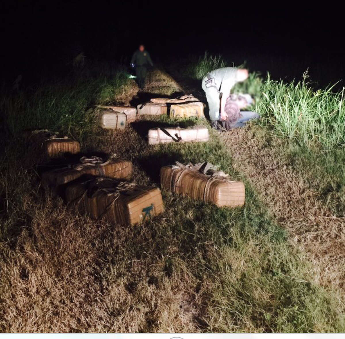 U.S. Border Patrol agents arrested several suspected drug smugglers and seized more than 1,100 pounds of marijuana on Aug. 7, 2015 near Santa Maria.