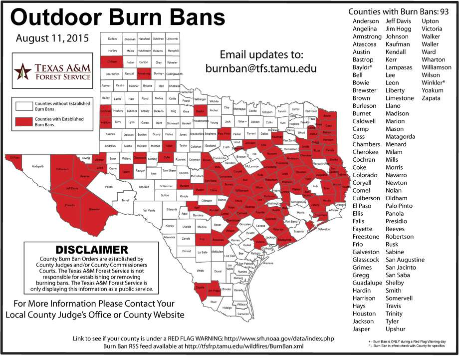 A map released by the Texas A&M Forest Service shows the Texas counties that are under a burn ban as of Aug. 11, 2015. Jefferson and Orange counties are now under the ban, though changes in the map have not yet been made to reflect that.  Photo: Courtesy Of Texas ATm Forest Service