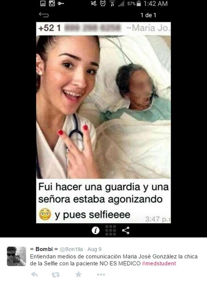 María José González, a medical student at the Universidad del Valle de Mexico in the border city of Reynosa, is gaining criticism for taking a selfie with a dying patient. She said on Facebook that she snapped the photo as a souvenir for her first day at an internship. Photo: Twitter Screenshots