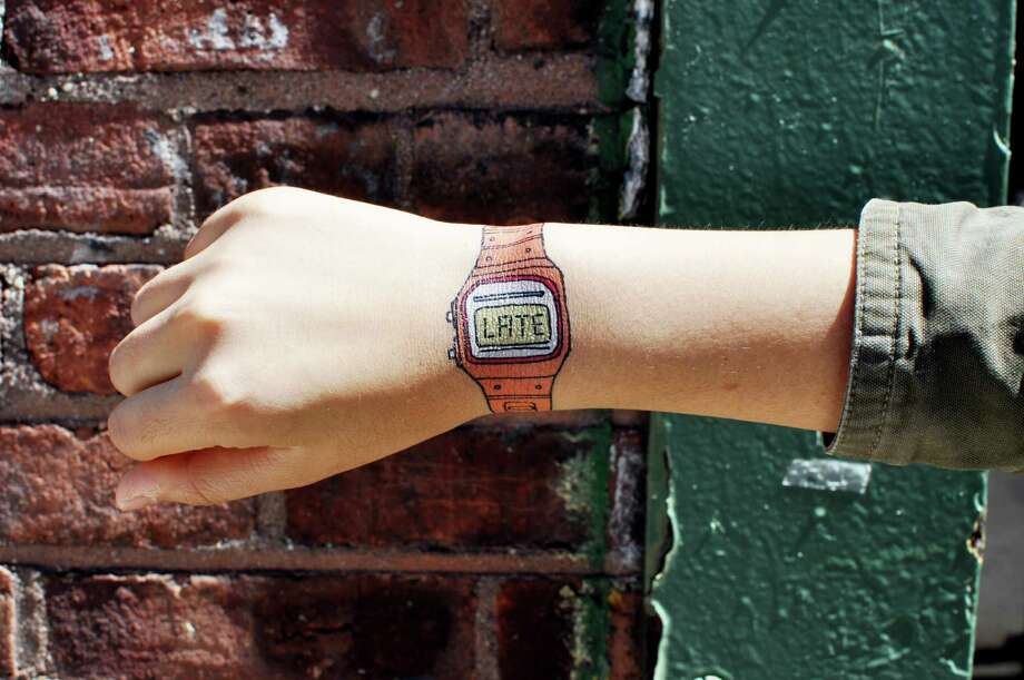 The Late Watch, by Julia Rothman, is one of the most popular temporary tattoos Tattly offers.