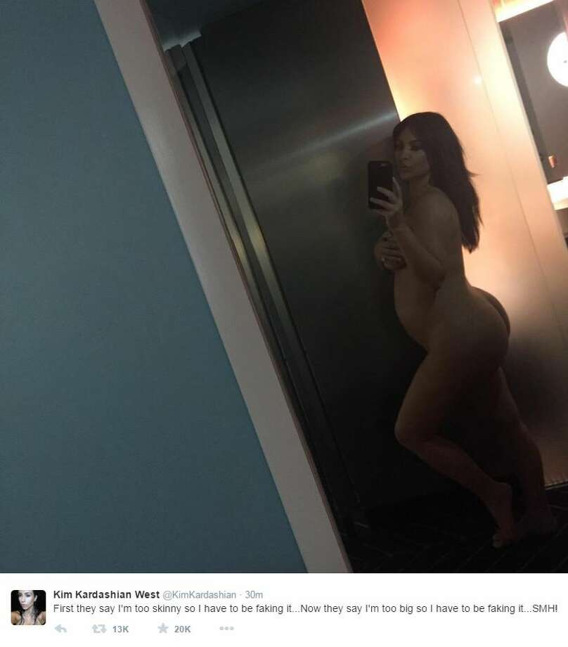 Kim Kardashian, who recently published a book of selfies, started her Tuesday morning by taking her posing to a new level.
