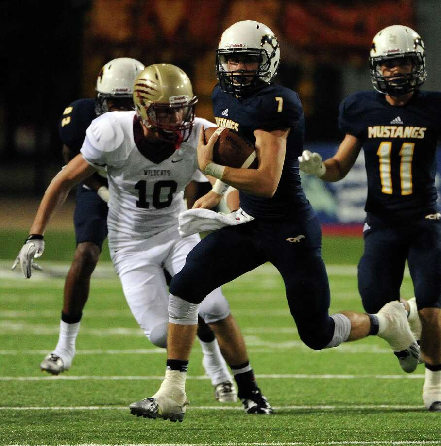The play of Cy Ranch quarterback Collin Rock is one of the reasons the Mustangs are favored to go far again this fall. Photo: Eric Christian Smith, Freelance / 2014 Eric Christian Smith