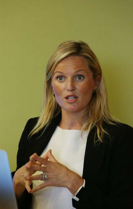 Lindsey Irvine, head of Salesforce wear, speaks during an event announcing new workforce productivity apps for the Apple Watch  on Tuesday, August 11, 2015 in San Francisco, Calif. Photo: Lea Suzuki, The Chronicle