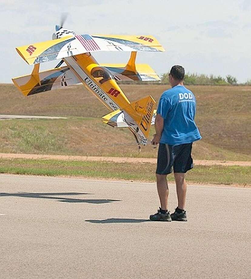 Robert Bernal flies the Ultimate bipe in 2011. Photo: Fort Bend Radio Control Club