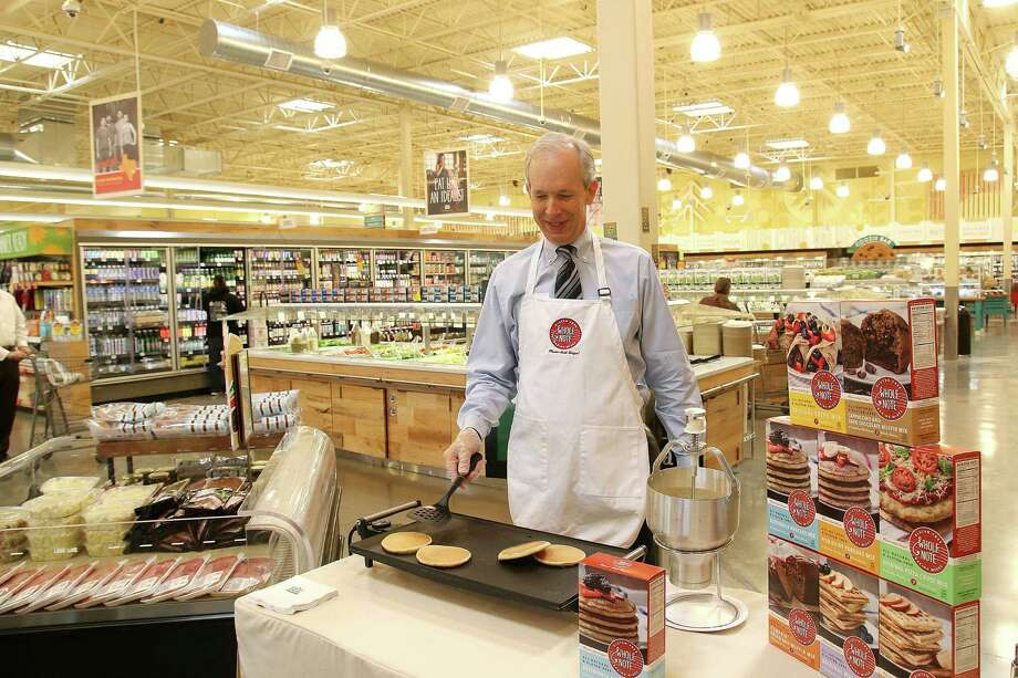Paul Morris, the CEO of Whole Note GF Baking Mixes, flipping pancakes and serving gluten-free waffles and muffins to Whole Foods customers at Whole Foods Market. Paul Morris, the CEO of Whole Note GF Baking Mixes, flipping pancakes and serving gluten-free waffles and muffins to Whole Foods customers at Whole Foods Market. Photo: Pin Lim, Freelance / Copyright Forest Photography, 2015.