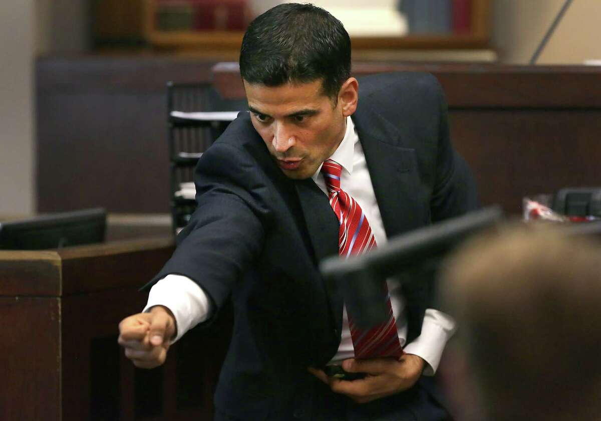Bexar County District Attorney Nicholas LaHood makes closing arguments in the 437th State District Court, in the case against Jessie Hernandez Jr. on Tuesday, August 11, 2015, who is accused of shooting two police officers.