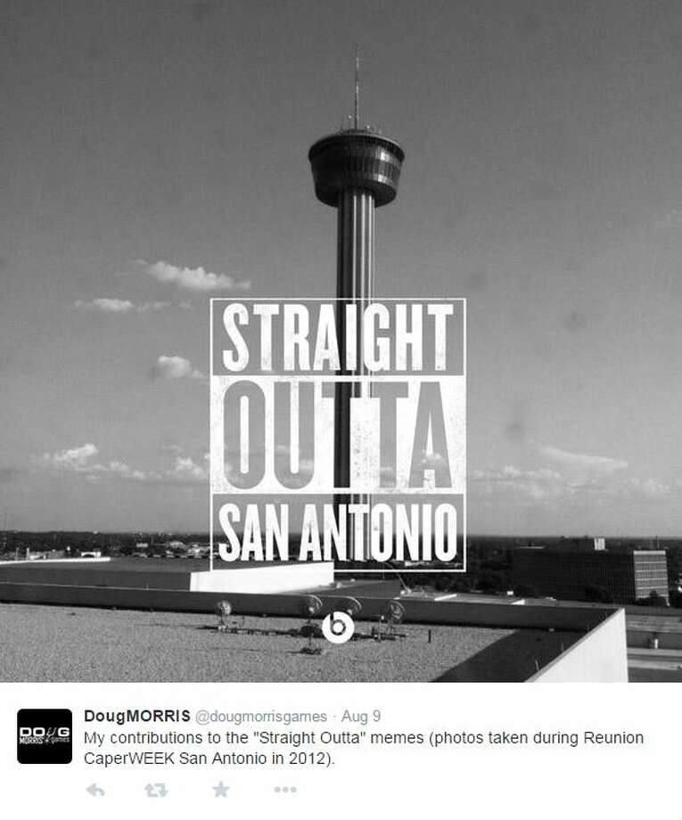 """My contributions to the ""Straight Outta"" memes,"" @dougmorrisgames Photo: Mendoza, Madalyn S, Twitter.com/Instagram.com"