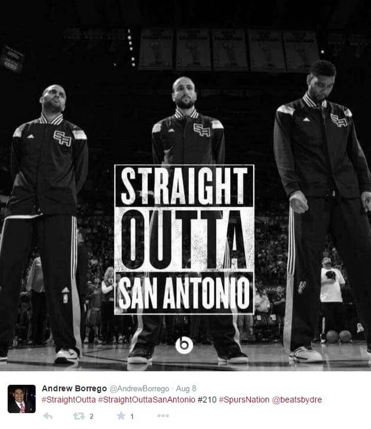 """""""#StraightOutta #StraiightOuttaSanAntonio #210 #SpursNation,"""" @AndrewBorrego"""