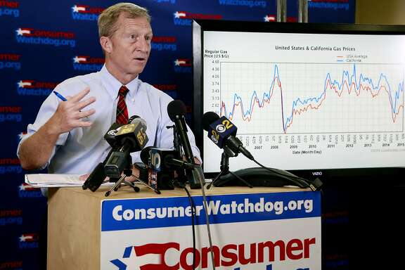 Billionaire climate activist Tom Steyer speaks during a news conference in Santa Monica, Calif., Wednesday, Aug. 5, 2015. Steyer is calling on state legislators to require oil companies to disclose how much they make in profits from refining oil in California. Steyer was joined by the nonprofit Consumer Watchdog Wednesday in condemning what they called historic profits for oil refiners at the expense of consumers. (AP Photo/Nick Ut)