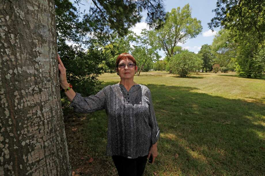 Sheila Wyborny stands next to a 25-foot Wafer Oak tree that she and her husband planted in 1983 when it was about five feet tall Friday, Aug. 7, 2015, in Houston. Sheila and her husband Wendell Wyborny had their home flooded in rain events in 1998, 2001 and 2002. The county's flood control ultimately bought them out and their land is empty.  Friday, Aug. 7, 2015, in Houston. Photo: Steve Gonzales, Houston Chronicle / © 2015 Houston Chronicle