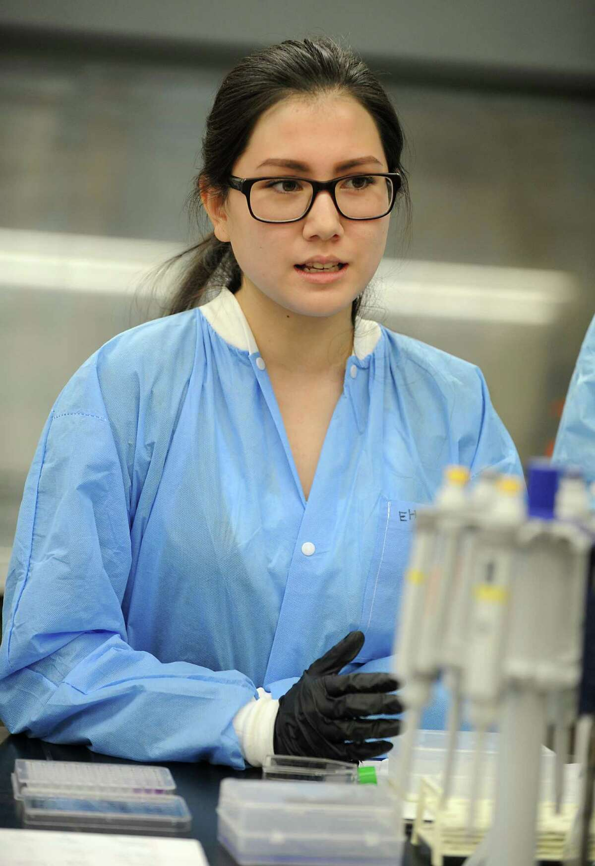Albany High School student Emily Ha, 16, talks about what she's learned at the College of Pharmacy and Health Sciences on Tuesday, Aug. 11, 2015 in Albany, N.Y. The students have been involved in a summer research project at the school. (Lori Van Buren / Times Union)