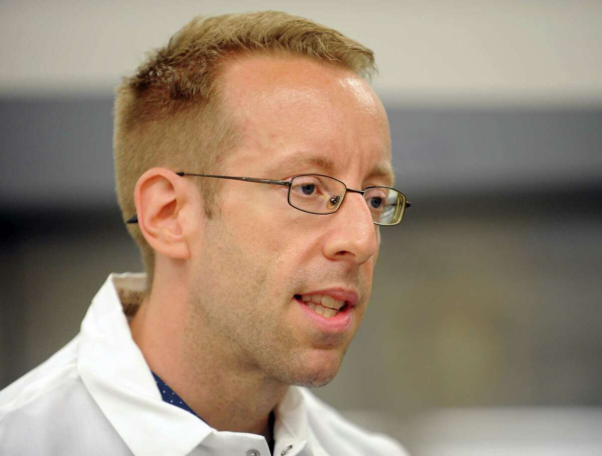 Eric Yager, assistant professor at Albany College of Pharmacy and Health Sciences, talks about the summer research project for High School students at the Albany College of Pharmacy and Health Sciences on Tuesday, Aug. 11, 2015 in Albany, N.Y. (Lori Van Buren / Times Union)